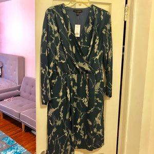 Banana Republic Long Sleeve V-Neck Faux Wrap Dress